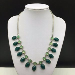 Lucky Brand Green Rhinestone Silver Tone Necklace